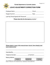 Leave Adjustment/correction Form - Florida