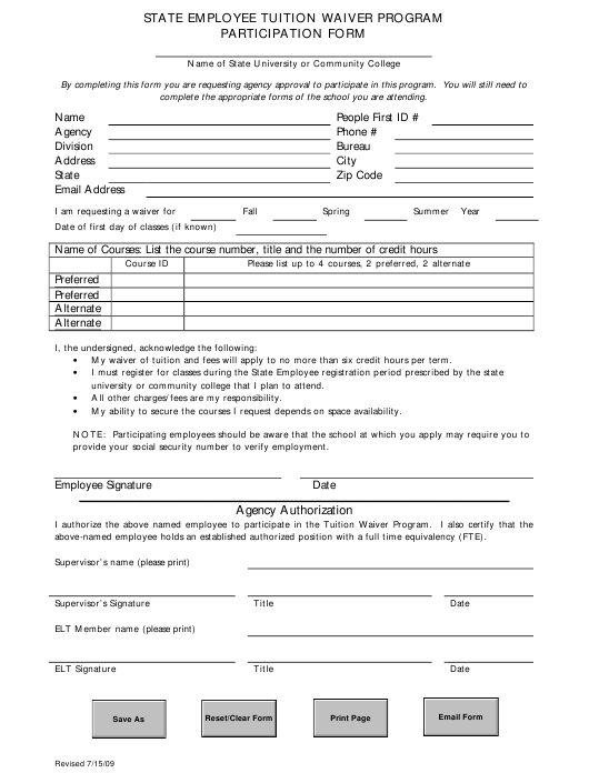 """""""State Employee Tuition Waiver Program Participation Form"""" - Florida Download Pdf"""