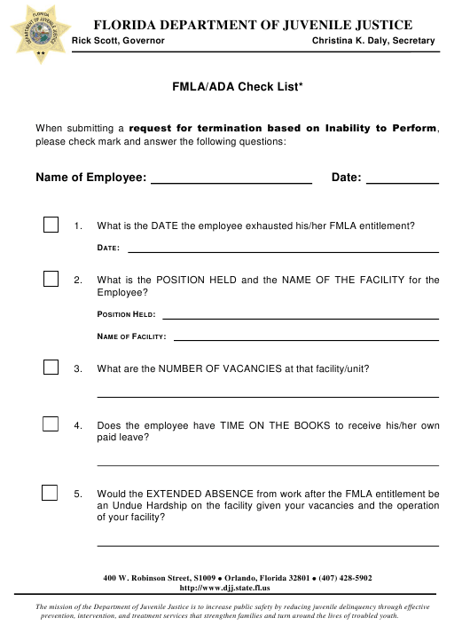 """Fmla/Ada Check List"" - Florida Download Pdf"