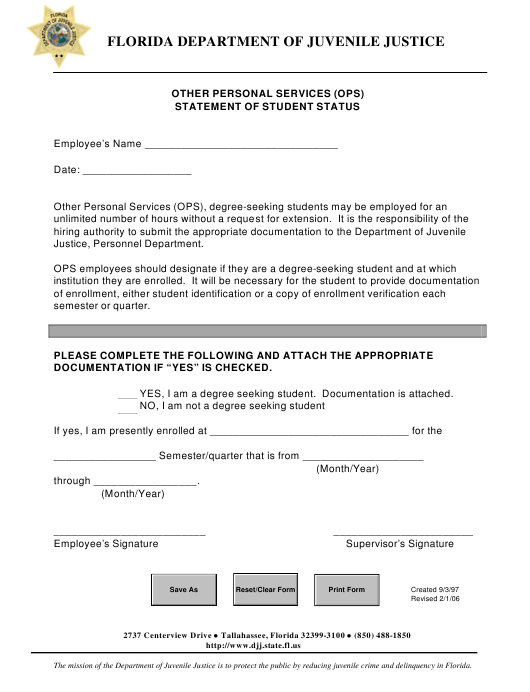 """""""Other Personal Services (Ops) Statement of Student Status"""" - Florida Download Pdf"""