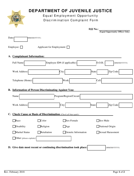 """Equal Employment Opportunity Discrimination Complaint Form"" - Florida Download Pdf"