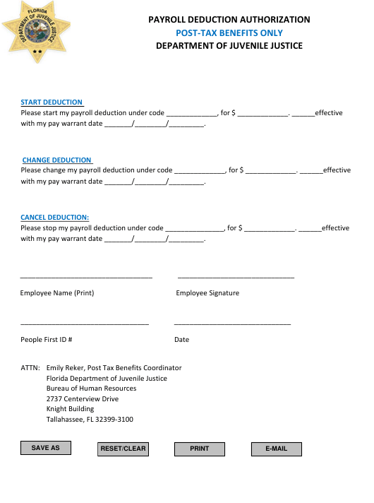 """""""Payroll Deduction Authorization Form - Post-tax Benefits Only"""" - Florida Download Pdf"""