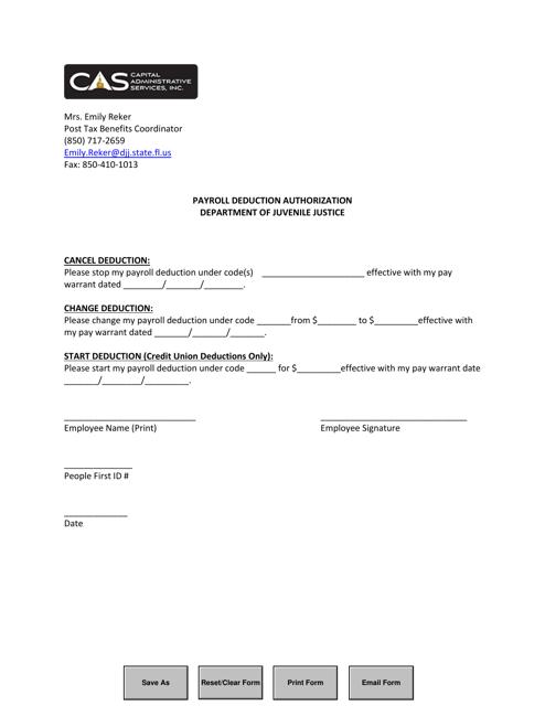 """Payroll Deduction Authorization Form"" - Florida Download Pdf"