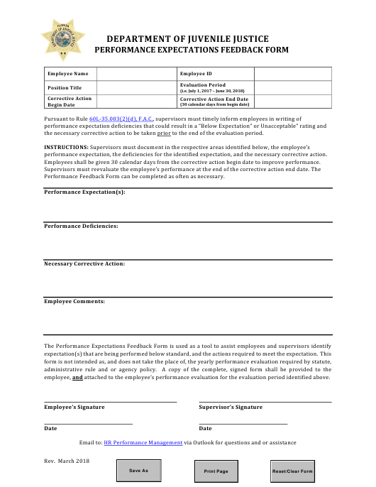 """""""Performance Expectations Feedback Form"""" - Florida Download Pdf"""
