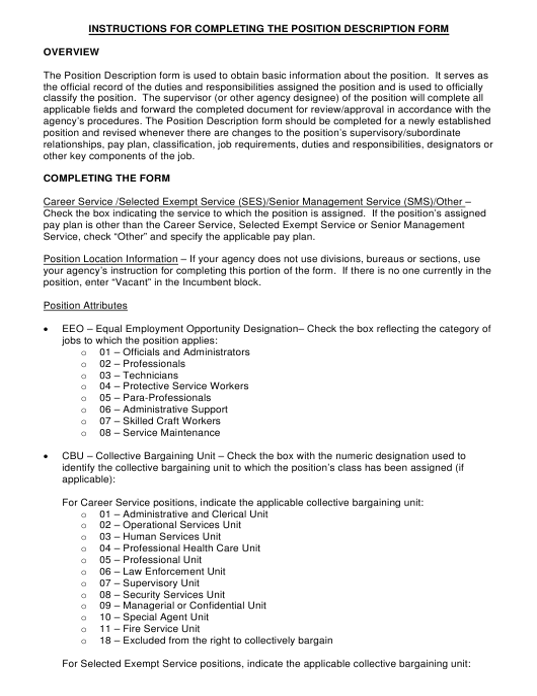 "Instructions for ""Position Description Form"" - Florida Download Pdf"