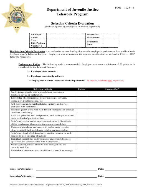 """Telework Selection Criteria Evaluation Form"" - Florida Download Pdf"