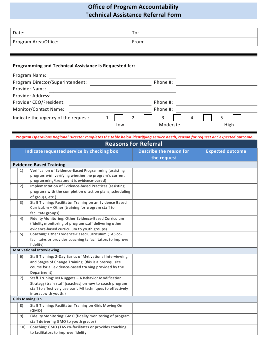 """""""Office of Program Accountability Technical Assistance Referral Form"""" - Florida Download Pdf"""