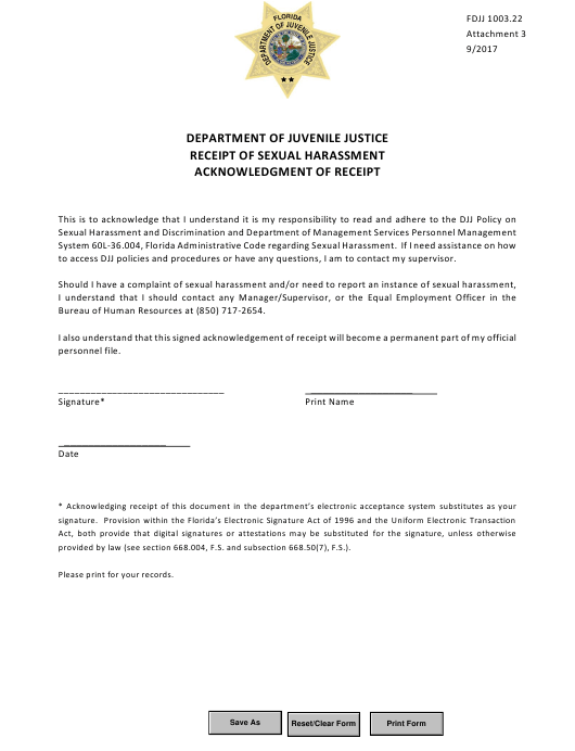 """Acknowledgement of Receipt - Receipt of Sexual Harassment"" - Florida Download Pdf"