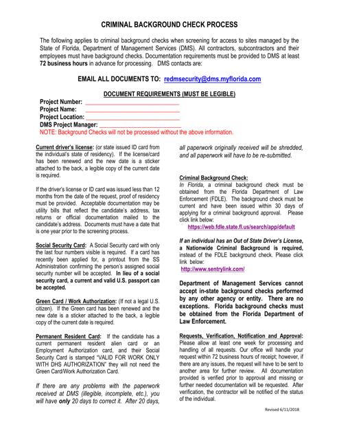 """Criminal Background Check Process"" - Florida Download Pdf"