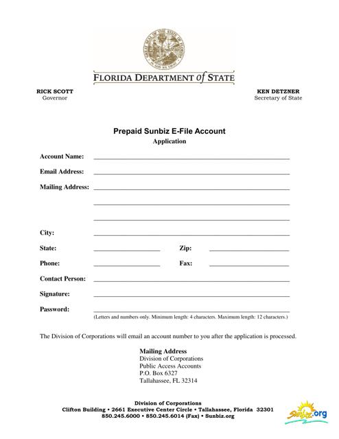 """Prepaid Sunbiz E-File Account Application Form"" - Florida Download Pdf"