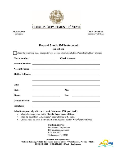 """Prepaid Sunbiz E-File Account - Deposit Slip Form"" - Florida Download Pdf"