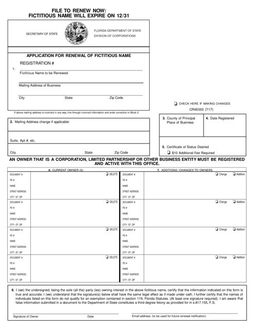Form CR4E003  Printable Pdf