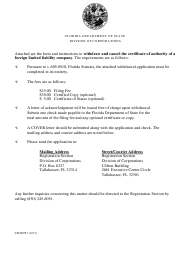 "Form CR2E057 ""Notice of Withdrawal of Certificate of Authority"" - Florida"