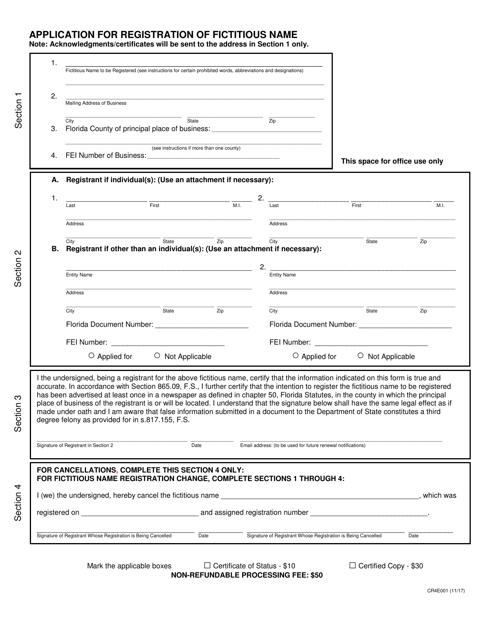 Form CR4E001  Printable Pdf