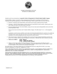 "Form CR2E049 ""Articles of Amendment to Articles of Organization"" - Florida"