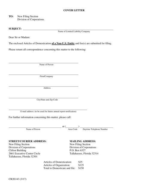 Form CR2E143  Printable Pdf