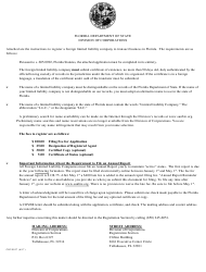 "Form CR2E027 ""Application by Foreign Limited Liability Company for Authorization to Transact Business in Florida"" - Florida"