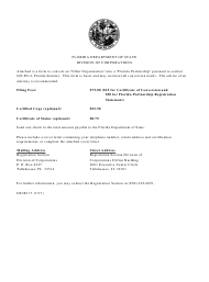 "Form CR2E117 ""Certificate of Conversion - Other Organization Into Florida Partnership"" - Florida"