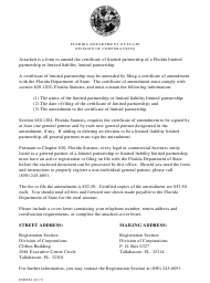 "Form INHS54 ""Certificate of Amendment to Certificate of Limited Partnership"" - Florida"