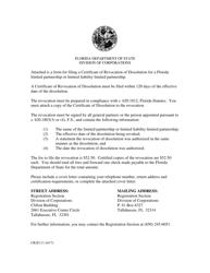 """Form CR2E111 """"Certificate of Revocation of Dissolution"""" - Florida"""