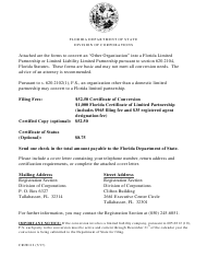 "Form CR2E112 ""Certificate of Conversion for Other Business Organization Into Florida Limited Partnership or Limited Liability Limited Partnership"" - Florida"