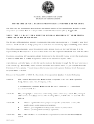 "Form INHS76 ""Articles of Incorporation for Florida Profit Social Purpose Corporation"" - Florida"