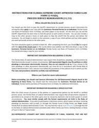 "Form 12.910(B) ""Process Service Memorandum"" - Florida"