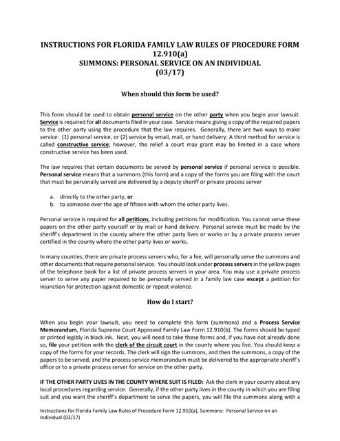Family Law Form 12.910(A)  Printable Pdf