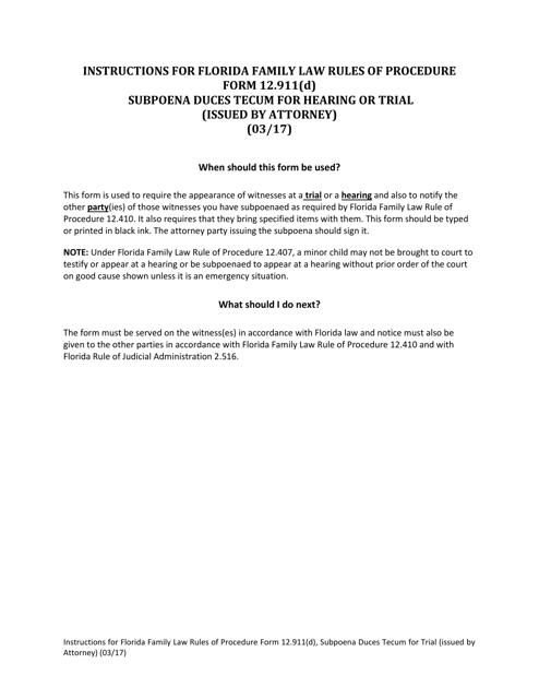 Form 12.911(D)  Printable Pdf