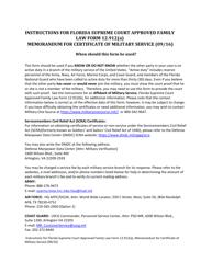 "Form 12.912(A) ""Memorandum for Certificate of Military Service"" - Florida"