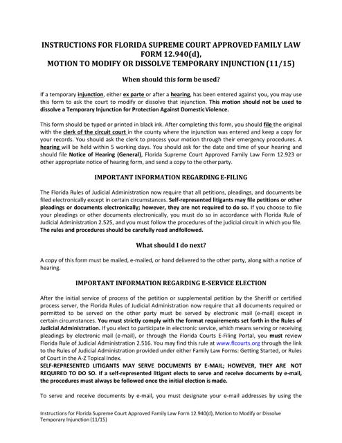 Form 12.940(D)  Printable Pdf