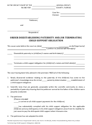 "Form 12.951(B) ""Order Disestablishing Paternity and/Or Terminating Child Support Obligation"" - Florida"