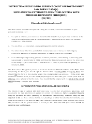 "Form 12.950(D) ""Supplemental Petition to Permit Relocation With Minor Child(Ren)"" - Florida"