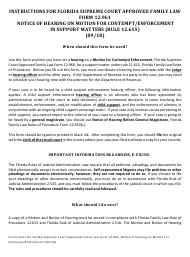 """Form 12.961 """"notice of Hearing on Motion for Contempt/Enforcement in Support Matters"""" - Florida"""