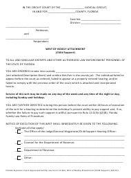 "Form 12.962 ""Writ of Bodily Attachment (Child Support)"" - Florida"