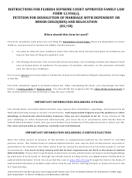 """Form 12.950(C) """"petition for Dissolution of Marriage With Dependent or Minor Child(Ren) and Relocation"""" - Florida"""
