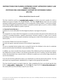 """Form 12.970(B) """"petition for Concurrent Custody by Extended Family"""" - Florida"""