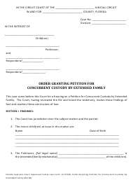 "Form 12.970(F) ""Order Granting Petition for Concurrent Custody by Extended Family"" - Florida"