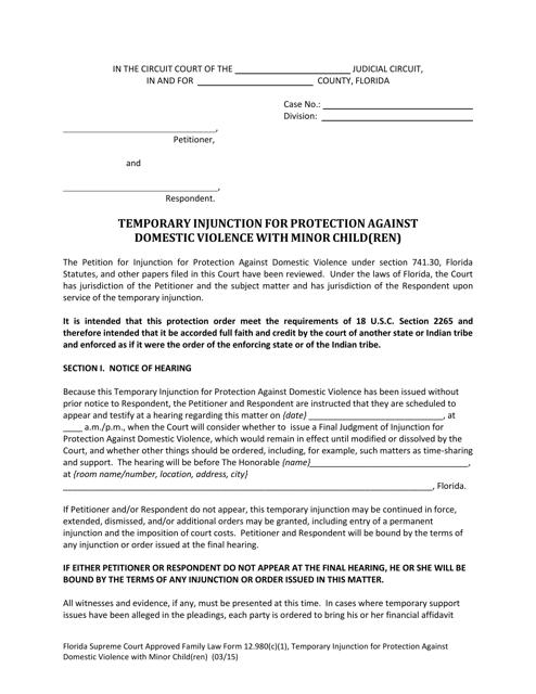 Form 12.980(C)(1)  Printable Pdf