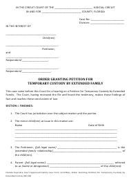 """Form 12.970(E) """"Order Granting Petition for Temporary Custody by Extended Family"""" - Florida"""