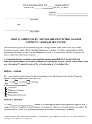 """Form 12.980(P) """"Final Judgment of Injunction for Protection Against Dating Violence (After Notice)"""" - Florida"""