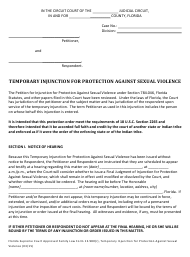 """Form 12.980(R) """"Temporary Injunction for Protection Against Sexual Violence"""" - Florida"""