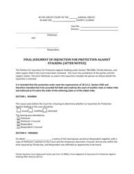 "Form 12.980(V) ""Final Judgment of Injunction for Protection Against Stalking (After Notice)"" - Florida"