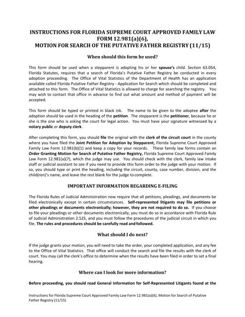 Form 12.981(A)(6)  Printable Pdf