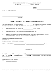 "Form 12.982(B) ""Final Judgment of Change of Name (Adult)"" - Florida"