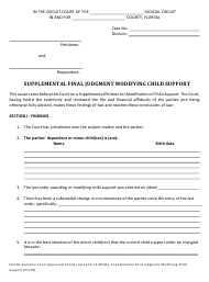 "Form 12.993(B) ""Supplemental Final Judgment Modifying Child Support"" - Florida"