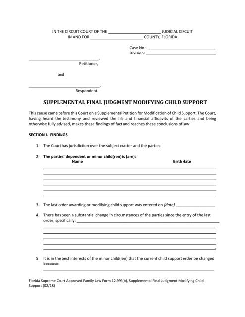 Form 12.993(B)  Printable Pdf