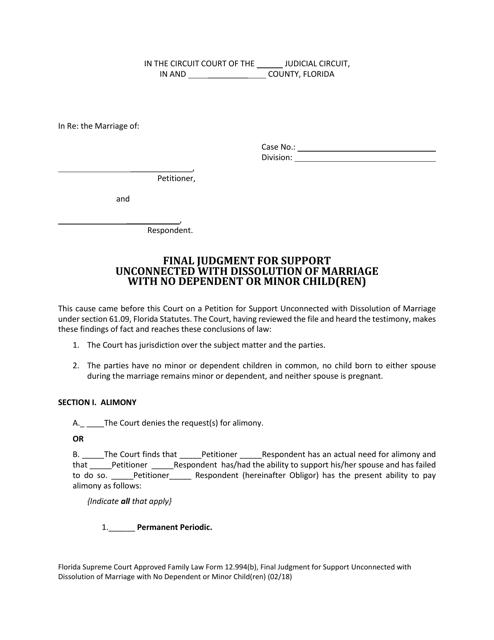 Form 12.994(B)  Printable Pdf