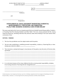 "Form 12.993(A) ""Supplemental Final Judgment Modifying Parental Responsibility, Visitation, or Parenting Plan/Time-Sharing Schedule and Other Relief"" - Florida"