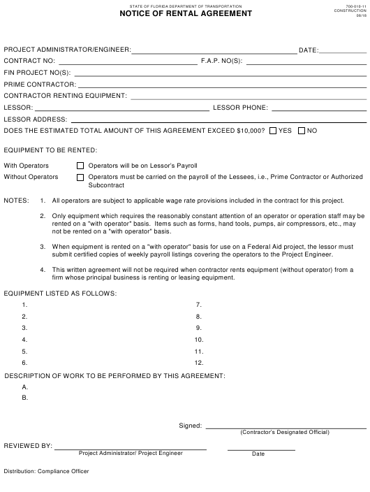 Form 700 010 11 Download Fillable Pdf Notice Of Rental